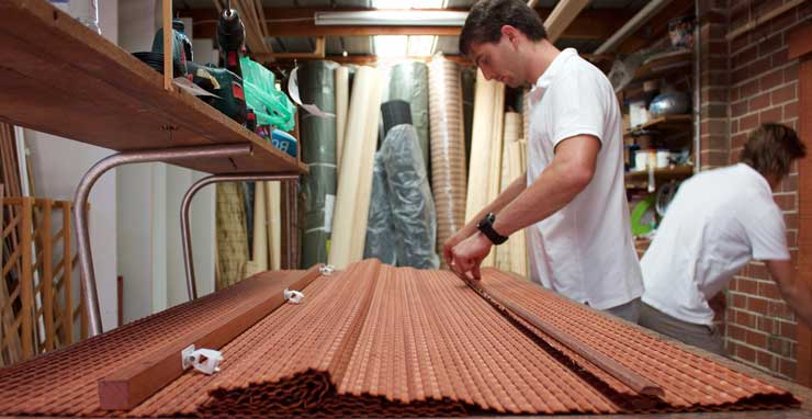 Custom making blinds in the Bamboo Blinds Australia workshop